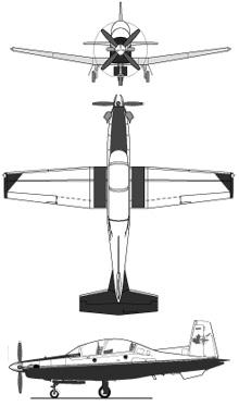 Plan 3 vues du Beechcraft T-6 Texan II