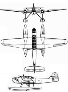 Plan 3 vues du Fokker T.VIII-W