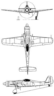 Plan 3 vues du Focke-Wulf Ta-152