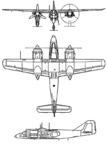 Plan 3 vues du Focke-Wulf Ta 154 Moskito