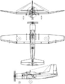 Plan 3 vues du Douglas TB2D Skypirate