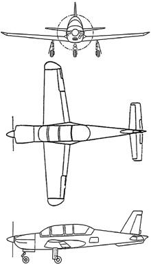 Plan 3 vues du Socata TB.30 Epsilon
