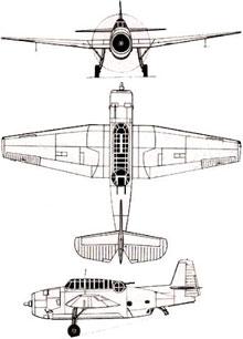 Plan 3 vues du Grumman TBF/TBM Avenger