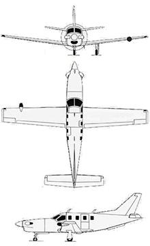 Plan 3 vues du Socata TBM-700