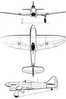 Plan 3 vues du Hawker  Tempest
