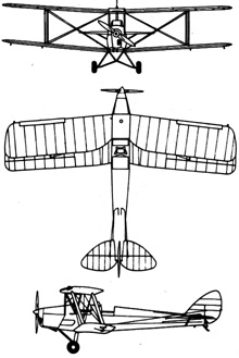 Plan 3 vues du De Havilland D.H.82 Tiger Moth