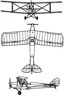 Plan 3 vues du De Havilland D.H.82 Tiger Moth