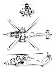 Plan 3 vues du Eurocopter EC-665 Tigre