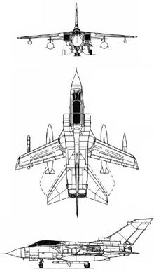 Plan 3 vues du Panavia Tornado ECR