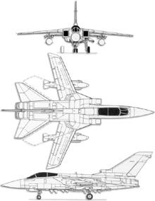 Plan 3 vues du Panavia  Tornado ADV