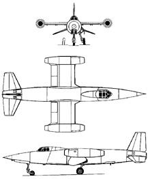 Plan 3 vues du Sud-Ouest SO.9050 Trident