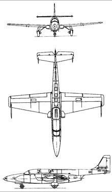 Plan 3 vues du P.Z.L. TS-11 Iskra