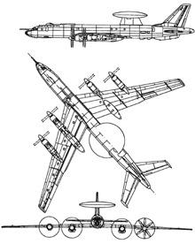 Plan 3 vues du Tupolev Tu-126  'Moss'