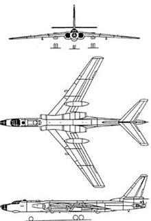 Plan 3 vues du Tupolev Tu-16  'Badger'