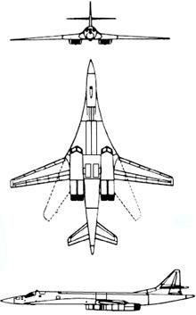 Plan 3 vues du Tupolev Tu-160  'Blackjack'