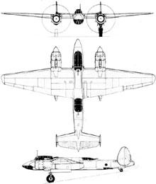 Plan 3 vues du Tupolev Tu-2  'Bat'