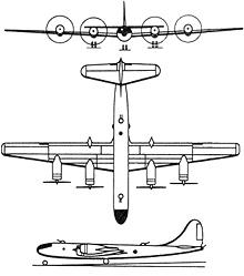 Plan 3 vues du Tupolev Tu-4  'Bull'
