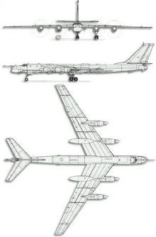 Plan 3 vues du Tupolev Tu-95  'Bear'