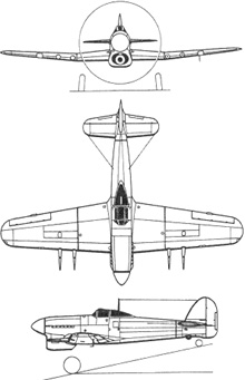 Plan 3 vues du Hawker  Typhoon