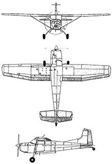 Plan 3 vues du Cessna U-17 Skywagon
