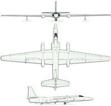 Plan 3 vues du Lockheed U-2