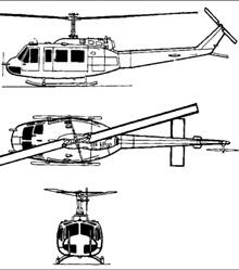 Plan 3 vues du Bell UH-1 Iroquois 'Huey'