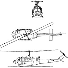 Plan 3 vues du Bell UH-1N Twin Huey / UH-1Y Venom