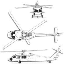 Plan 3 vues du Sikorsky UH-60/MH-60 Blackhawk
