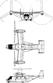Plan 3 vues du Bell-Boeing V-22 Osprey
