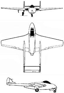 Plan 3 vues du De Havilland D.H.100 Vampire