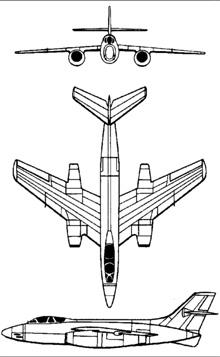 Plan 3 vues du Sud-Ouest SO.4050 Vautour