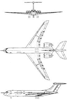 Plan 3 vues du Vickers VC-10