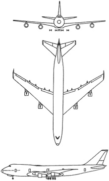 Plan 3 vues du Boeing VC-25