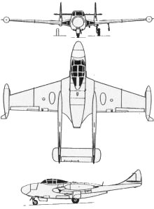 Plan 3 vues du De Havilland D.H.112 Venom
