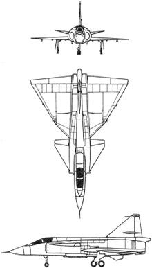 Plan 3 vues du Saab J37 Viggen
