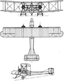 Plan 3 vues du Vickers F.B.27 Vimy