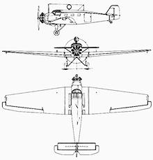 Plan 3 vues du Junkers W 33 & W 34