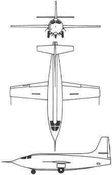Plan 3 vues du Bell X-1
