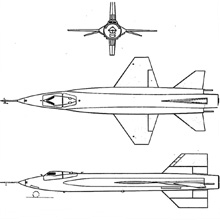 Plan 3 vues du North American X-15