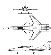 Plan 3 vues du Grumman X-29