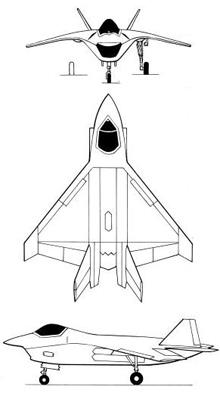 Plan 3 vues du Boeing X-32