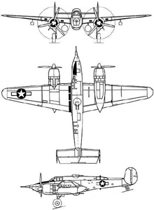 Plan 3 vues du Beechcraft XA-38 Grizzly