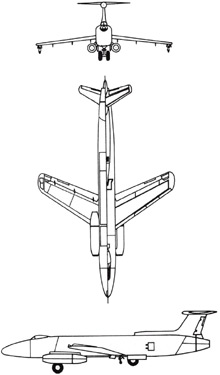 Plan 3 vues du Martin XB-51