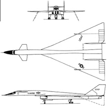 Plan 3 vues du North American XB-70 Valkyrie