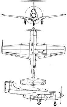 Plan 3 vues du Curtiss XF15C
