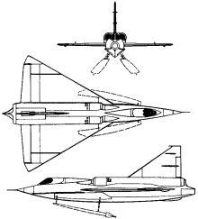 Plan 3 vues du Convair XF2-Y Sea Dart