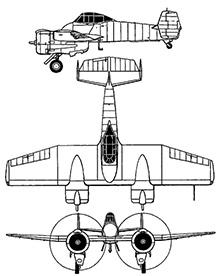 Plan 3 vues du Grumman XF5F/XP-50 Skyrocket
