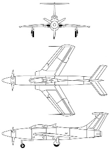 Plan 3 vues du Republic XF-84H Thunderscreech