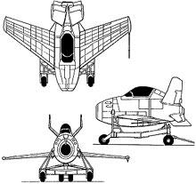 Plan 3 vues du McDonnell XF-85 Goblin