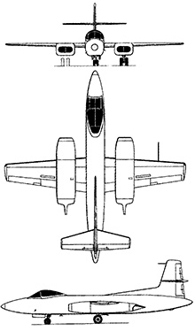 Plan 3 vues du Curtiss XF-87 Blackhawk